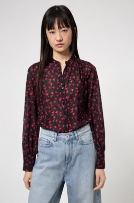 Long-sleeved chiffon blouse with cherry-blossom print, Patterned