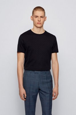 Crew-neck T-shirt in structured mercerised cotton, Dark Blue
