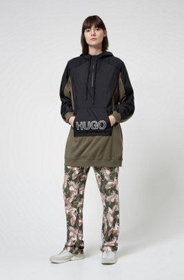 Oversized-fit hooded sweatshirt with 3D-effect logo, Khaki