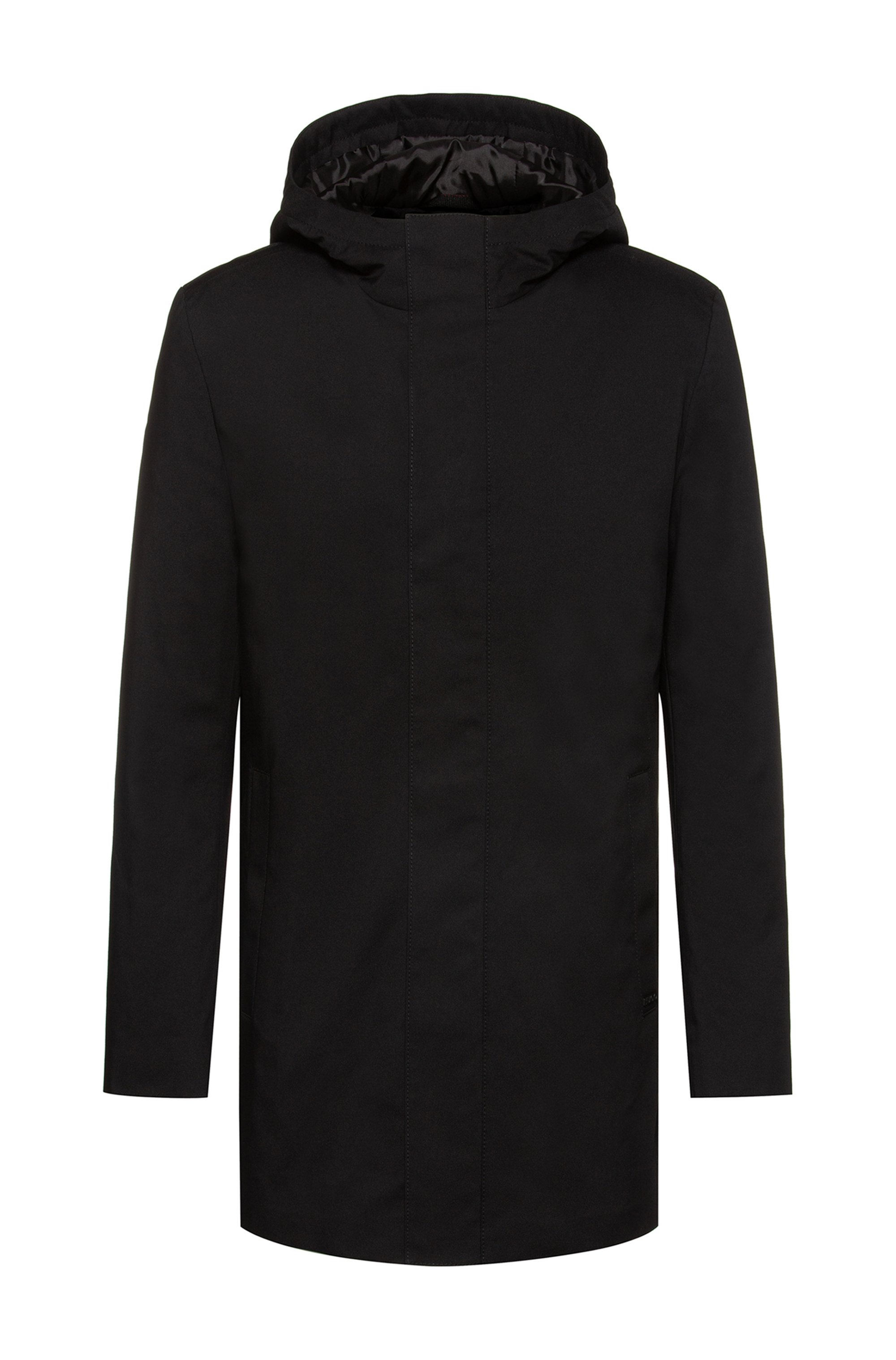 Slim-fit coat with branded inner placket, Black