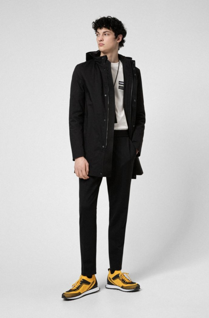 Slim-fit coat with branded inner placket
