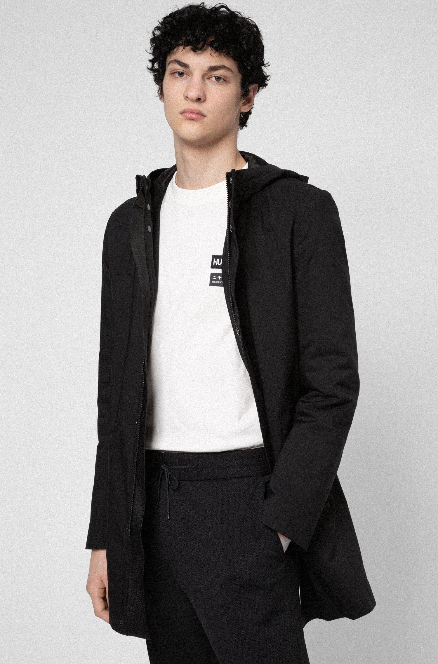 Slim-fit coat with branded inner placket, Black