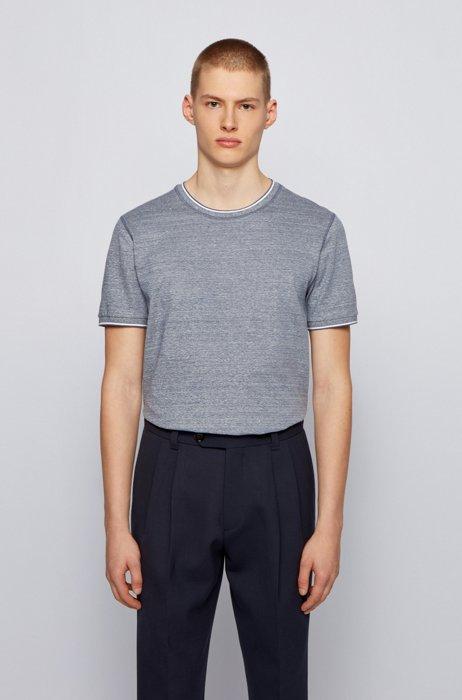 Patterned regular-fit T-shirt in single jersey, Light Blue