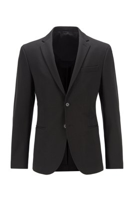 Veste Slim Fit en jersey stretch interlock, Noir