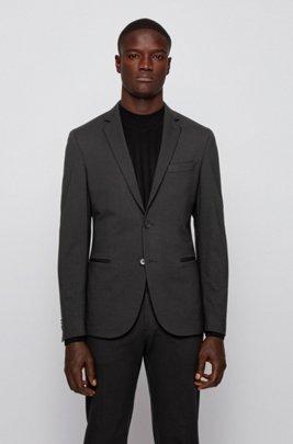 Slim-fit jacket in interlock jersey with stretch, Black