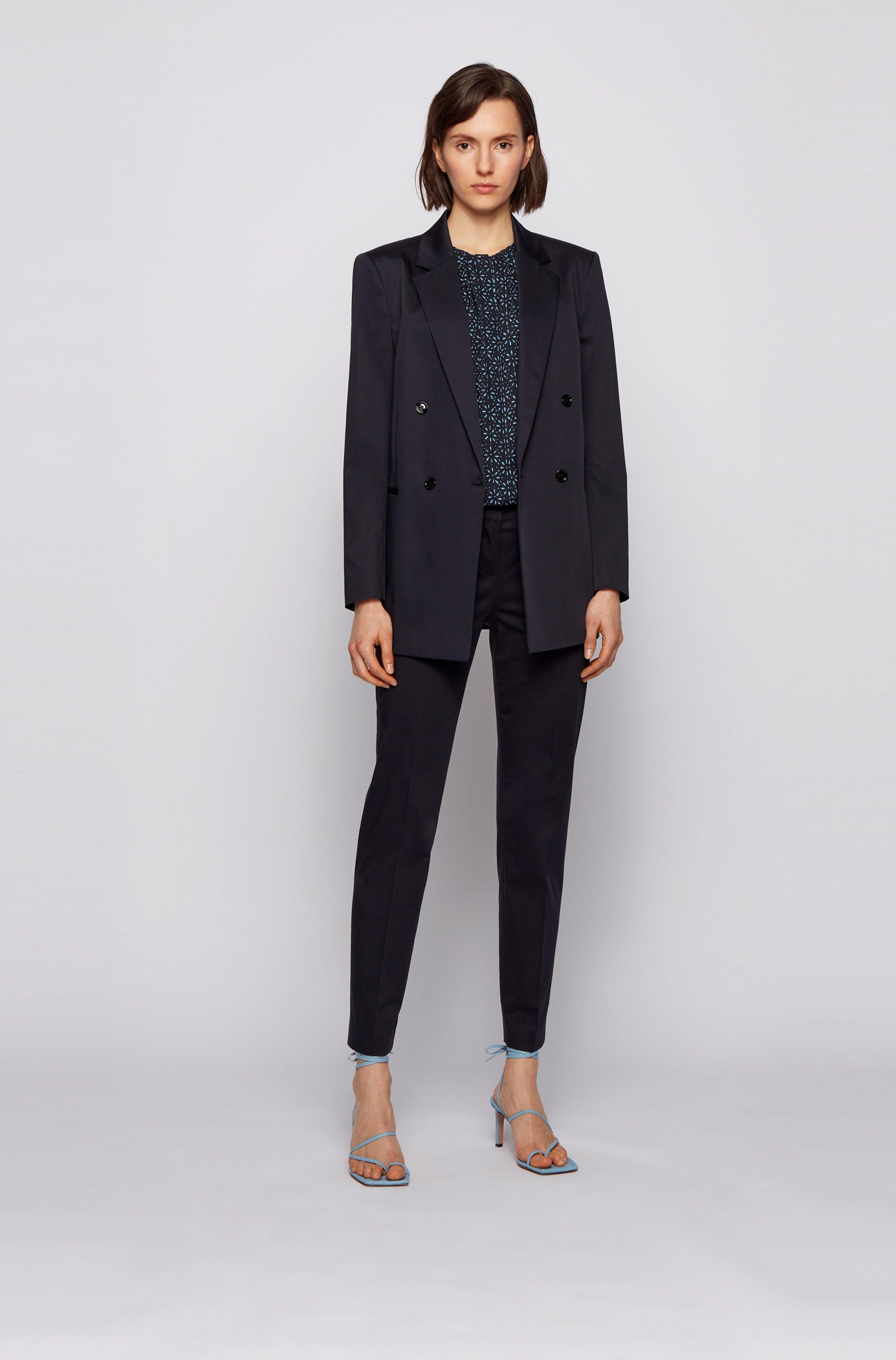 Kraagloze regular-fit blouse van zijde met print