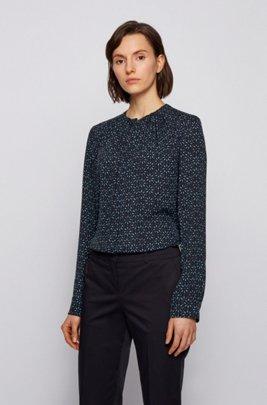 Kraagloze regular-fit blouse van zijde met print, Bedrukt
