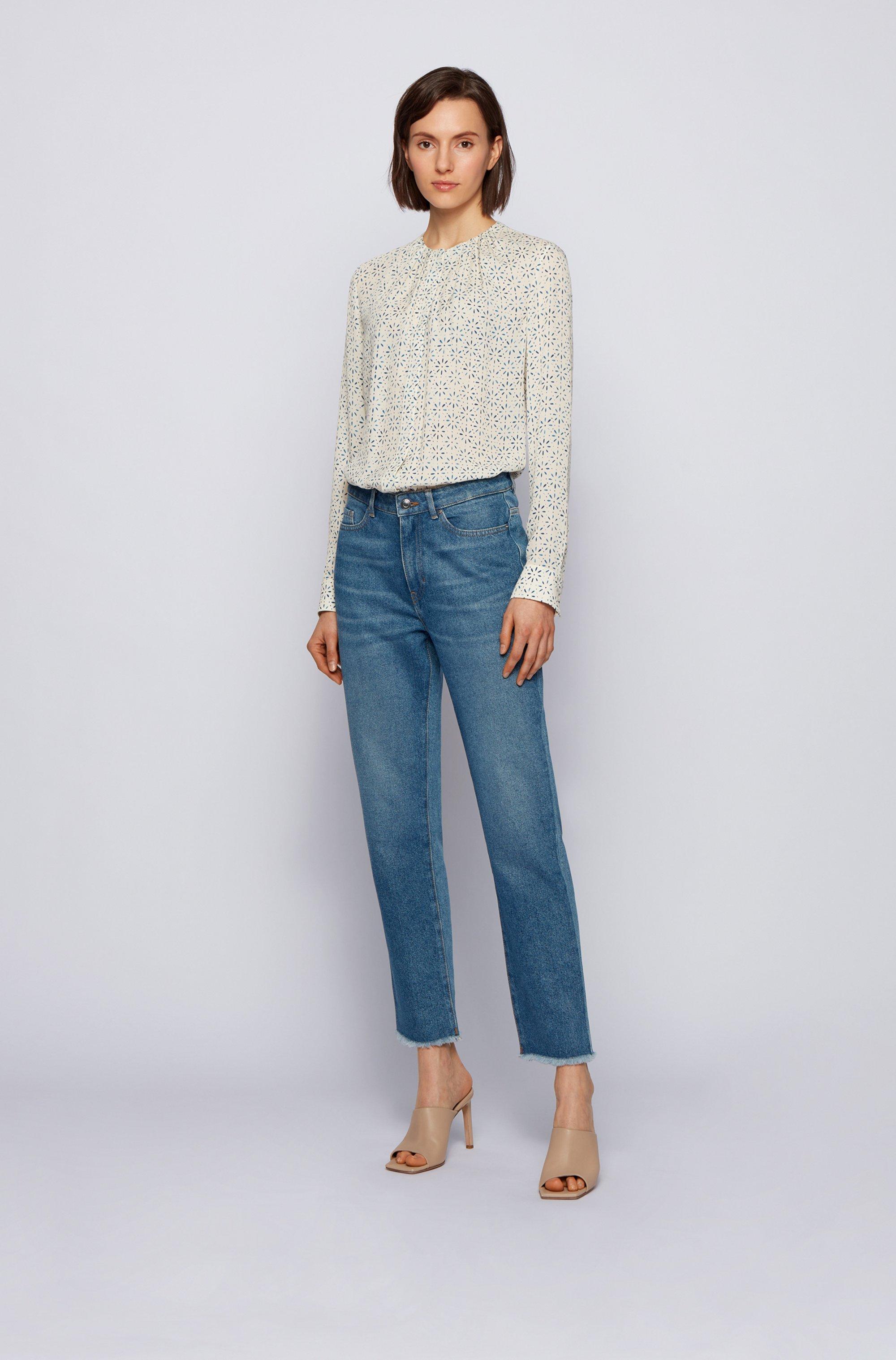 Regular-fit collarless blouse in printed silk