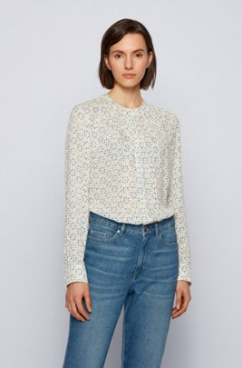 Regular-fit collarless blouse in printed silk, Patterned