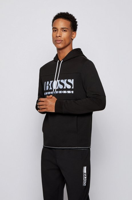 Regular-fit sweatshirt with colour-block logo, Black
