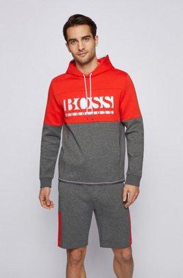 Regular-fit sweatshirt with colour-block logo, Grey