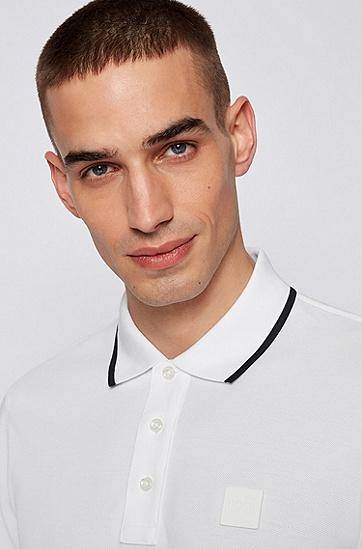 徽标贴袋棉质混纺珠地布 Polo 衫,  100_White