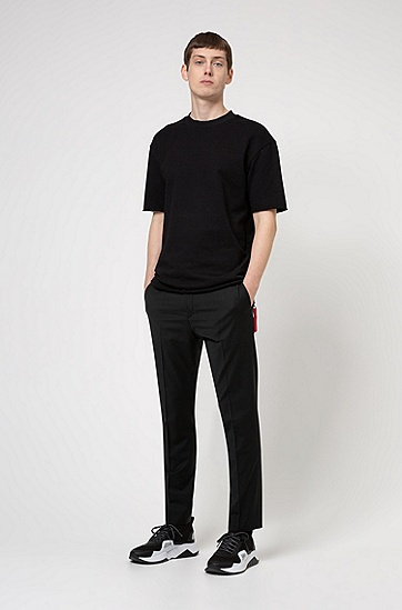 拉链细节棉质毛圈布宽松版型 T 恤,  001_黑色