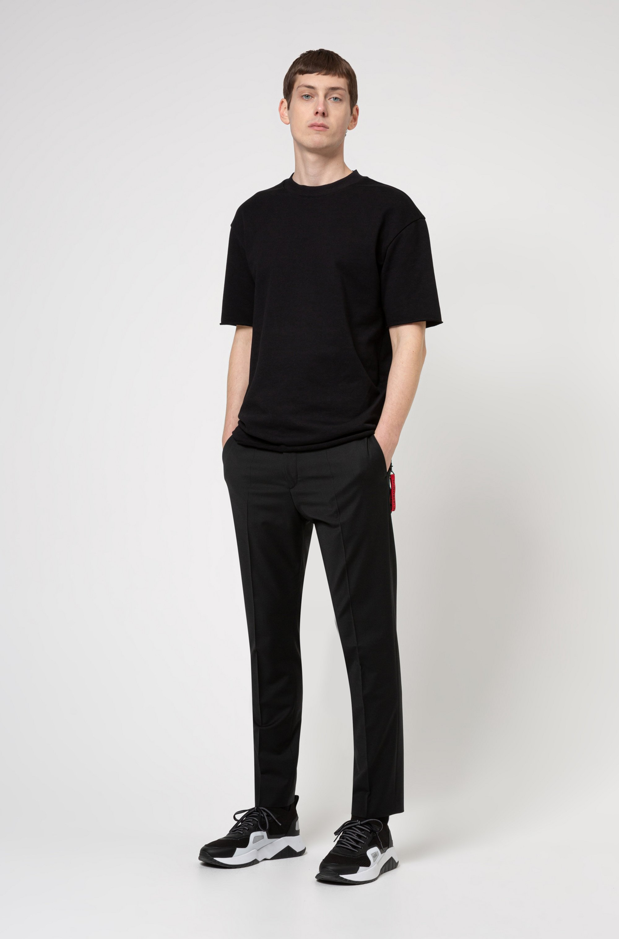Relaxed-fit T-shirt in terry cotton with zip detailing