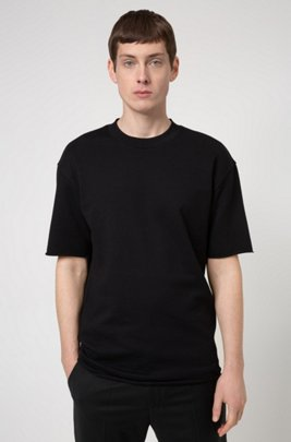 Relaxed-fit T-shirt in terry cotton with zip detailing, Black
