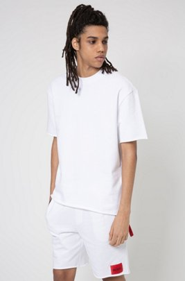 Relaxed-fit T-shirt in terry cotton with zip detailing, White