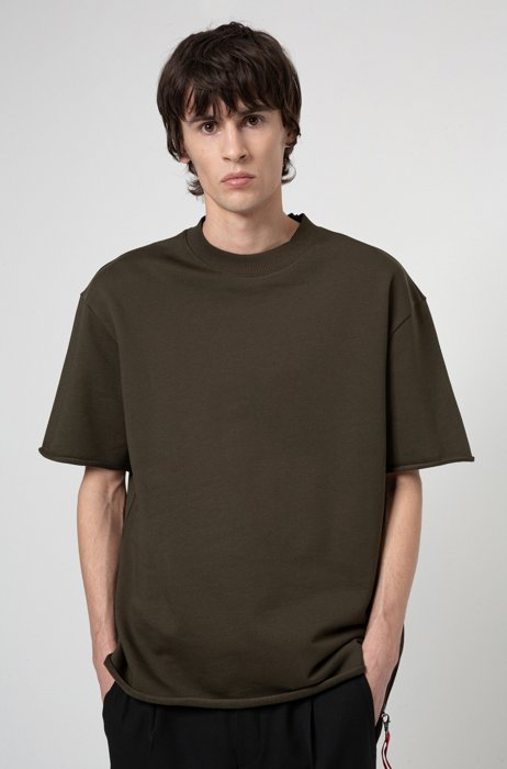 Relaxed-fit T-shirt in terry cotton with zip detailing, Khaki