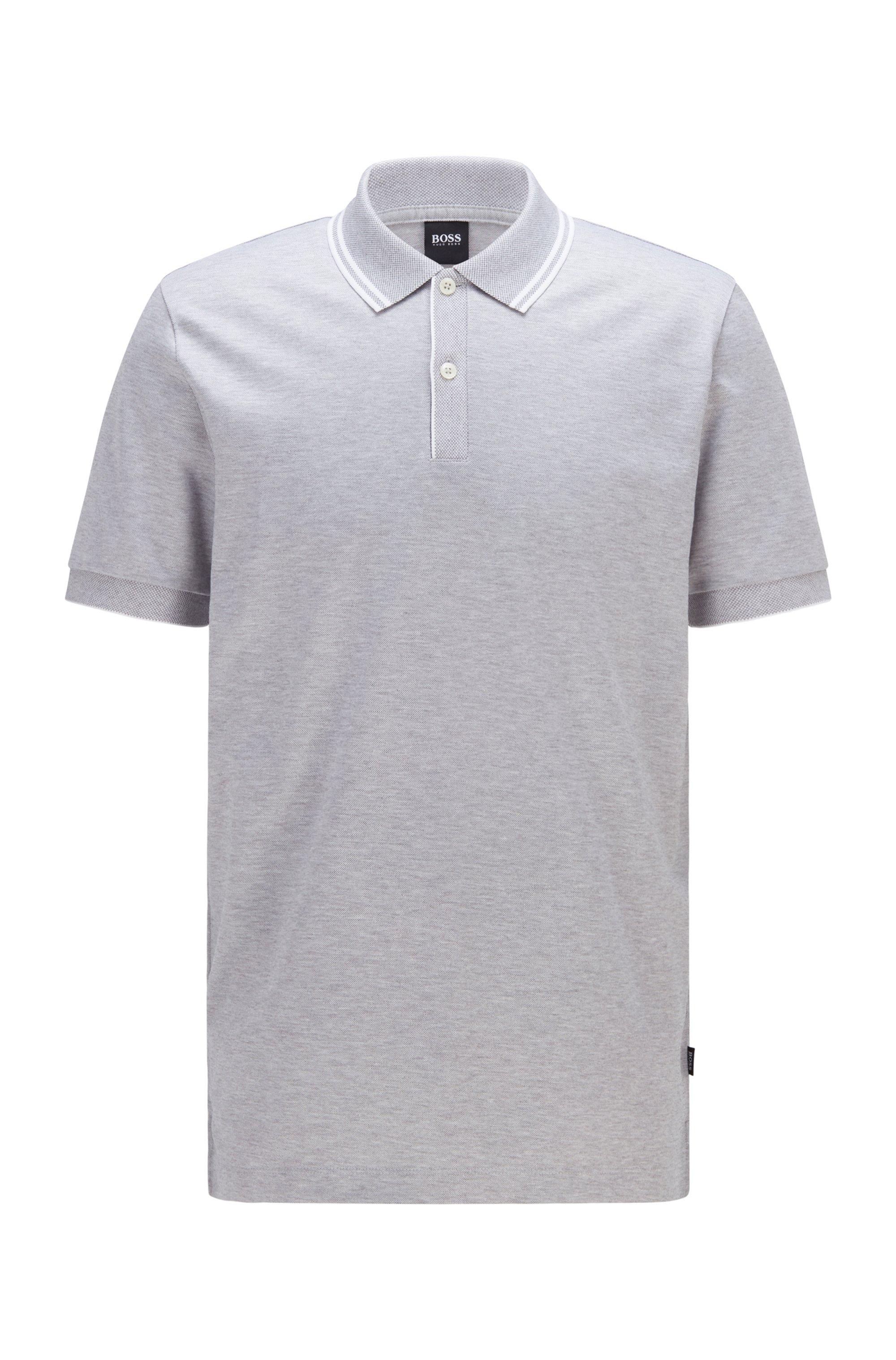 Regular-Fit Poloshirt aus merzerisierter Baumwolle mit Hanf, Hellgrau