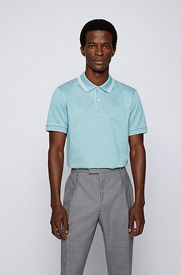 常规版型丝光棉麻 Polo 衫,  447_Turquoise/Aqua