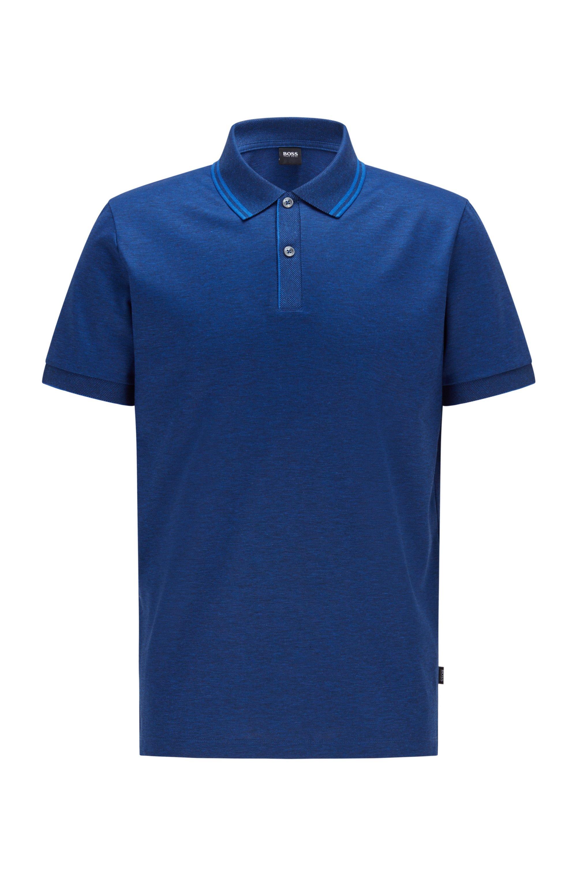 Polo regular fit in cotone mercerizzato e canapa, Blu