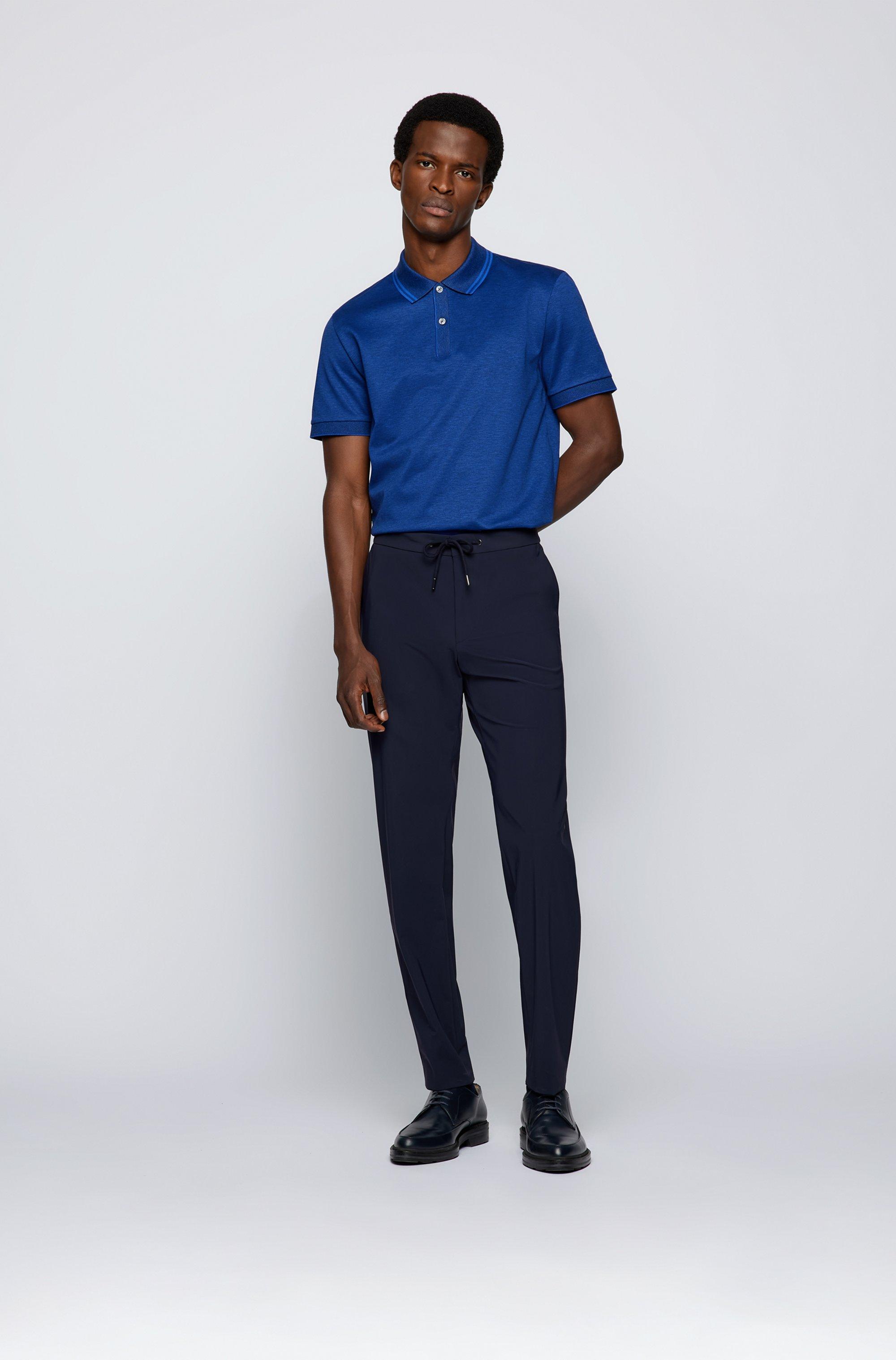 Regular-Fit Poloshirt aus merzerisierter Baumwolle mit Hanf