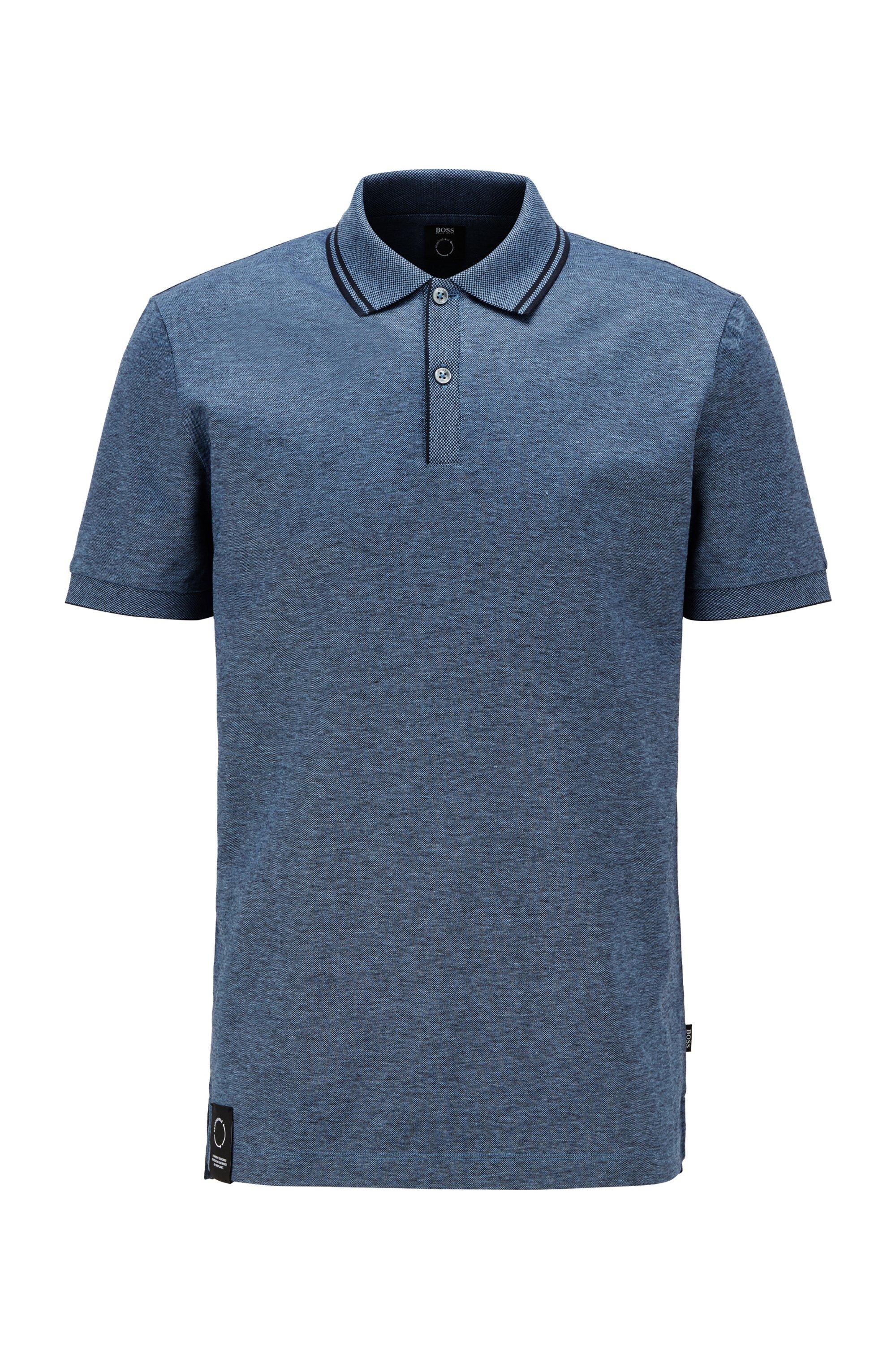 Regular-fit polo shirt in mercerised cotton and hemp, Blue