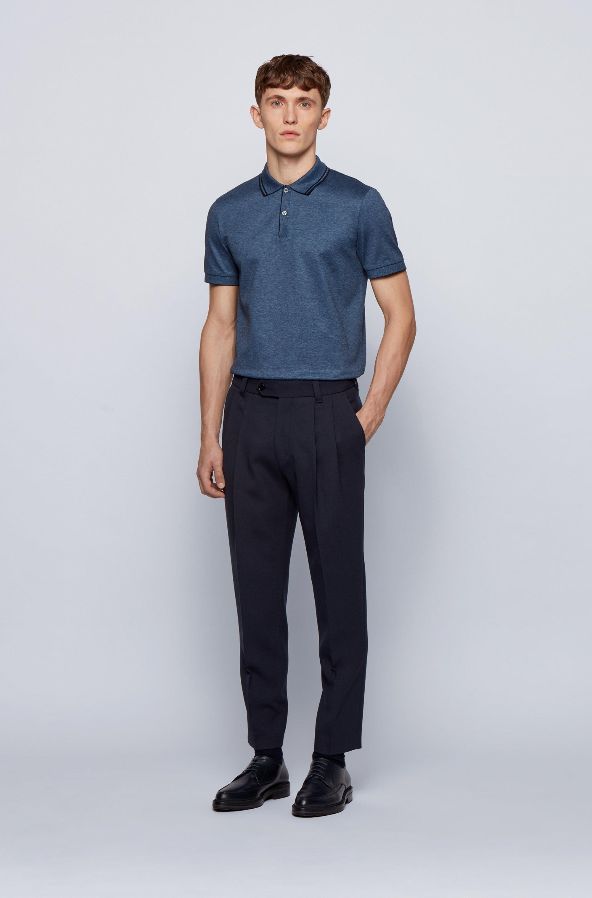 Regular-fit polo shirt in mercerised cotton and hemp