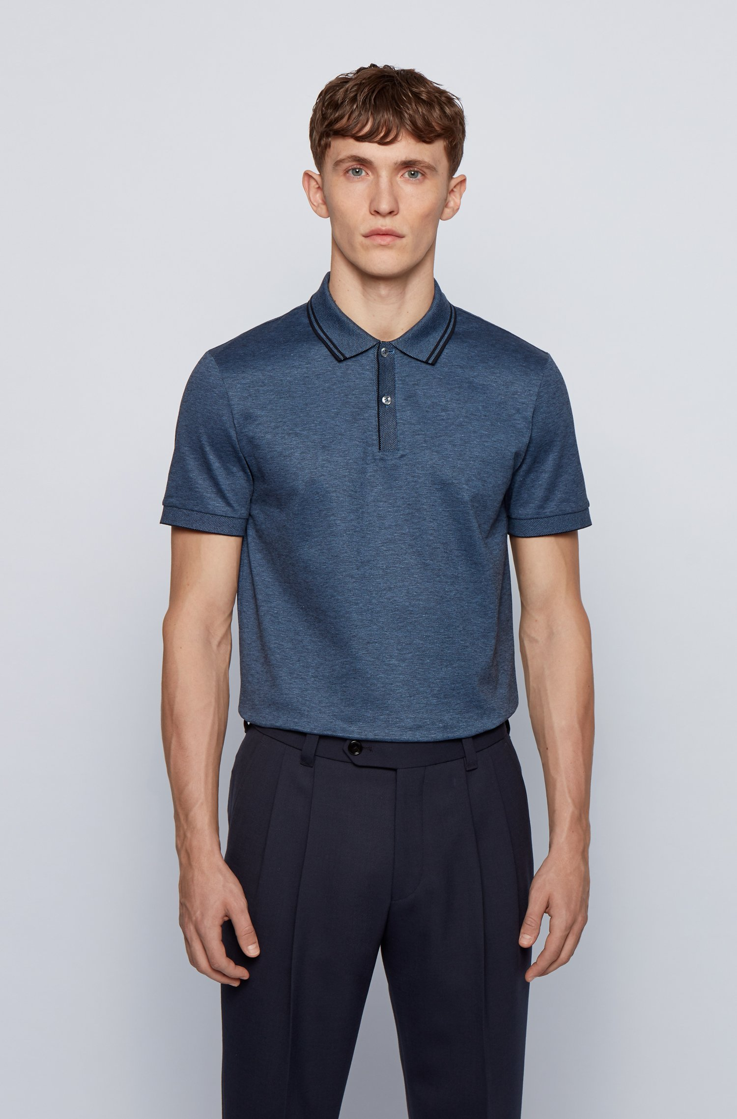 Regular-Fit Poloshirt aus merzerisierter Baumwolle mit Hanf, Blau