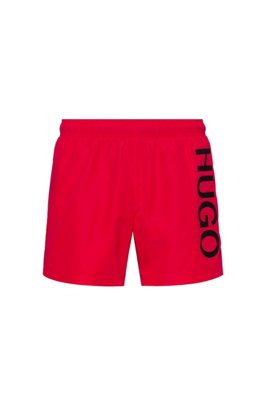 Quick-dry logo swim shorts in recycled fabric, Red