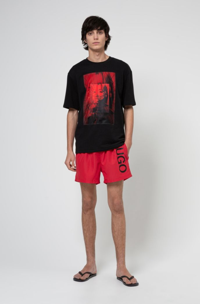 Quick-dry logo swim shorts in recycled fabric