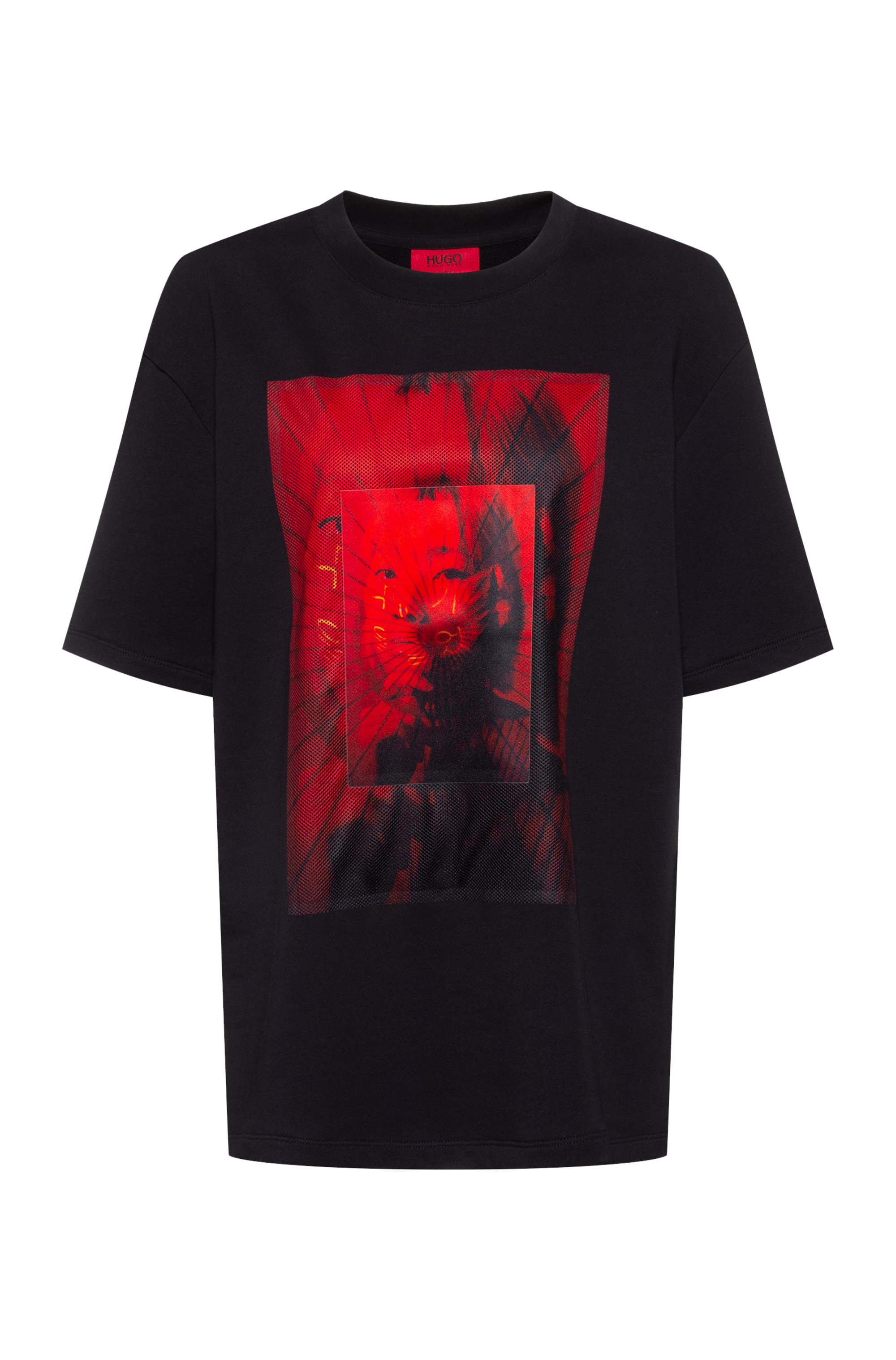 Unisex oversized-fit T-shirt with mesh geisha print, Black