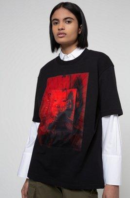 Unisex oversized-fit T-shirt with mesh geisha print, Black