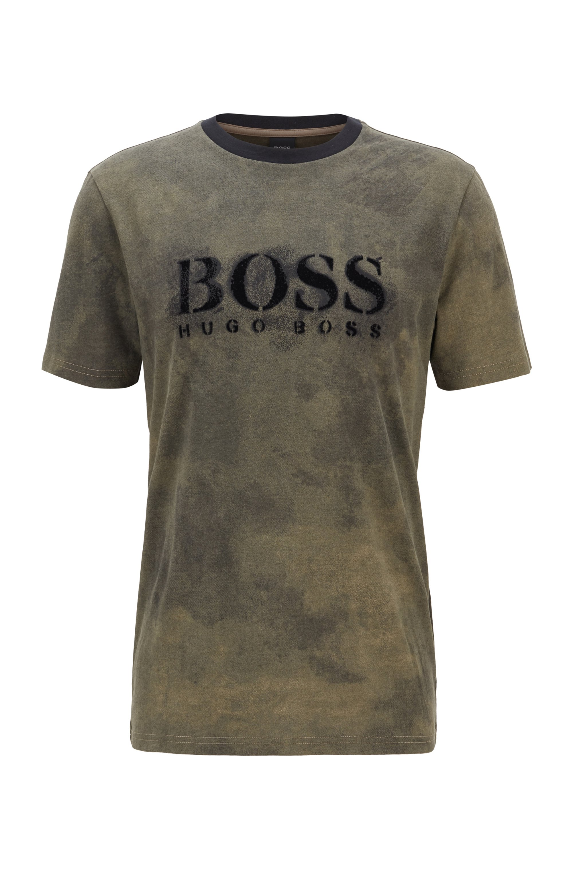 Pima-cotton T-shirt with stencilled logo and camouflage print, Khaki