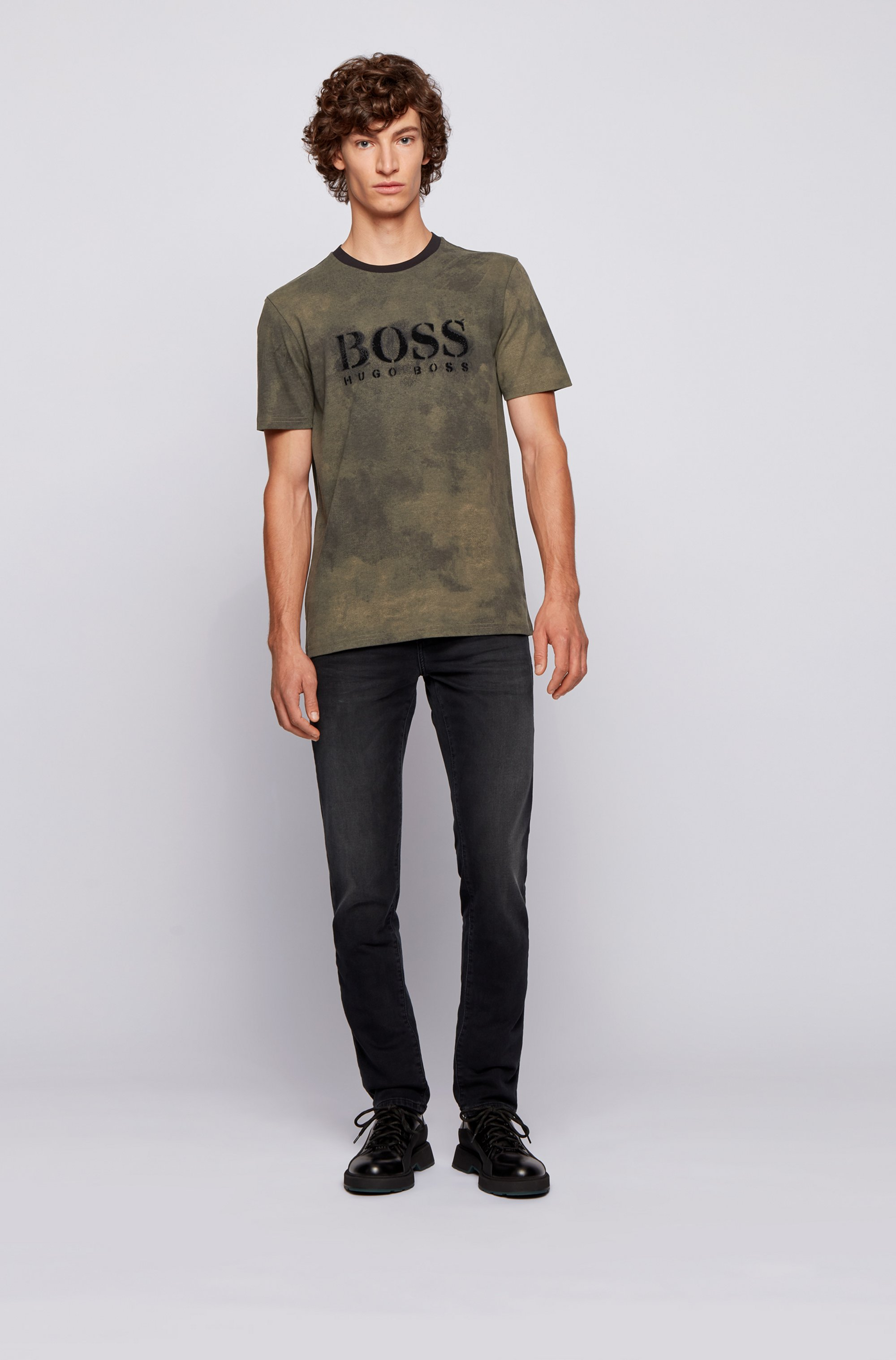 Pima-cotton T-shirt with stencilled logo and camouflage print
