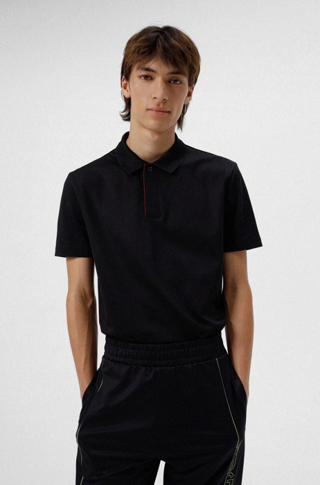 Cotton-blend polo shirt with covered placket, Black