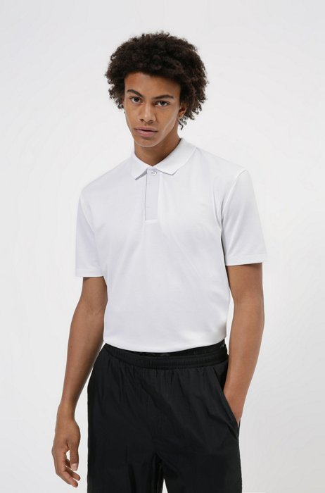 Cotton-blend polo shirt with covered placket, White