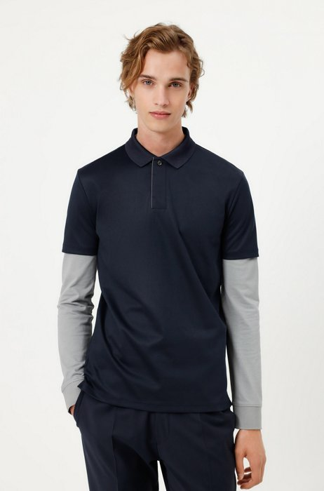 Cotton-blend polo shirt with covered placket, Dark Blue