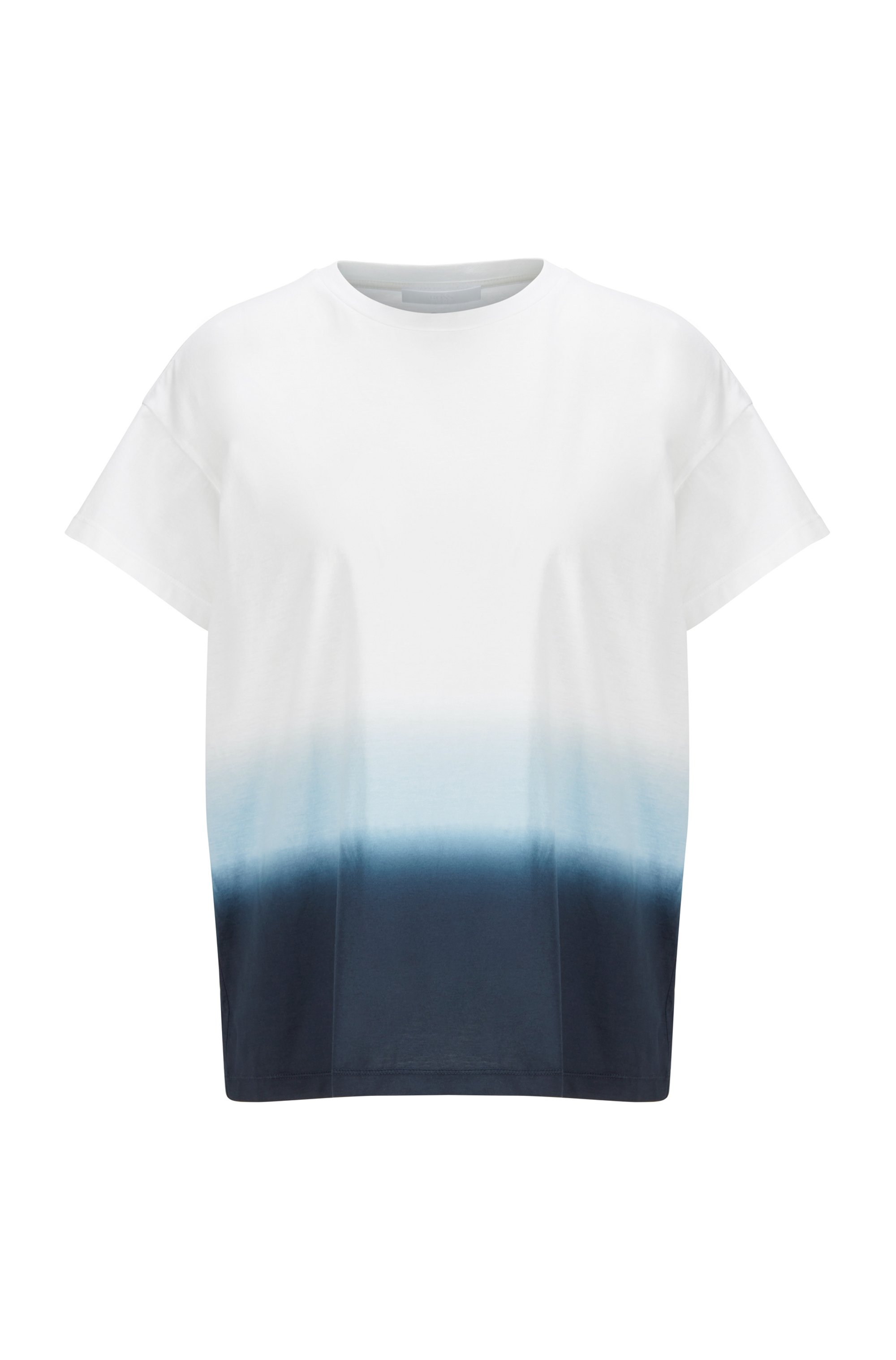 Dip-dyed relaxed-fit T-shirt in cotton jersey, Patterned