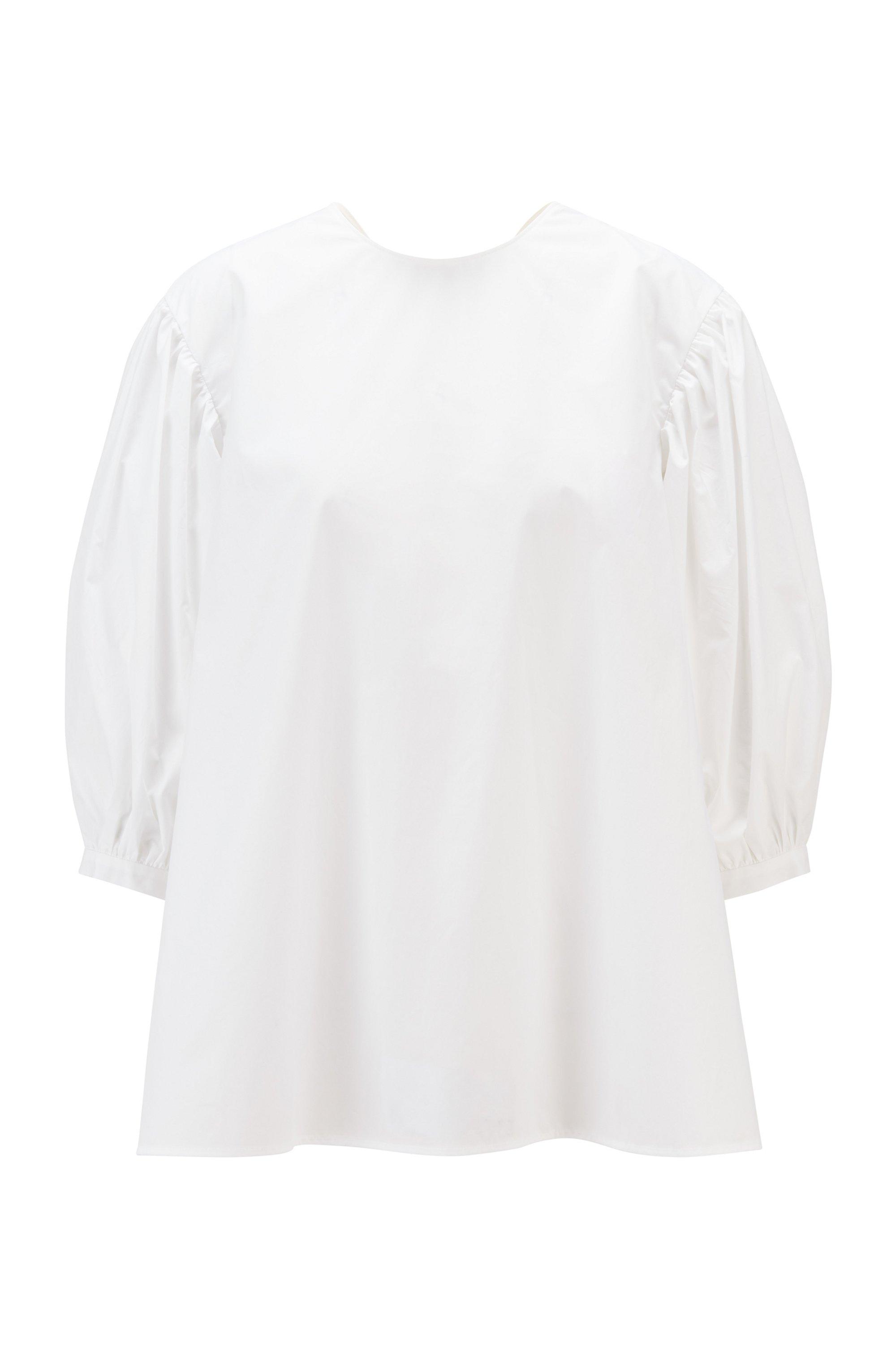 Cotton-poplin top with balloon sleeves, White