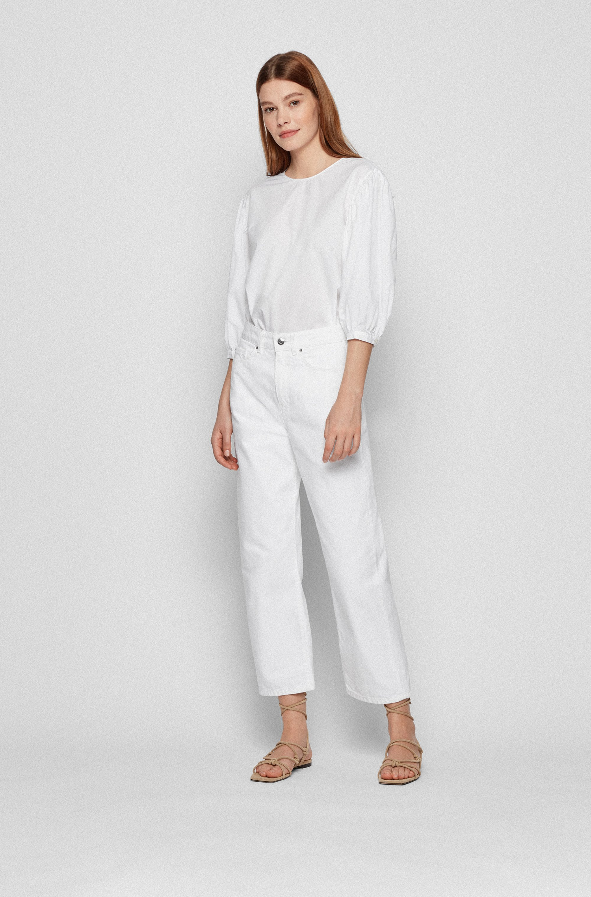 Cotton-poplin top with balloon sleeves