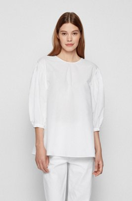 Cotton-poplin top with balloon sleeves, White