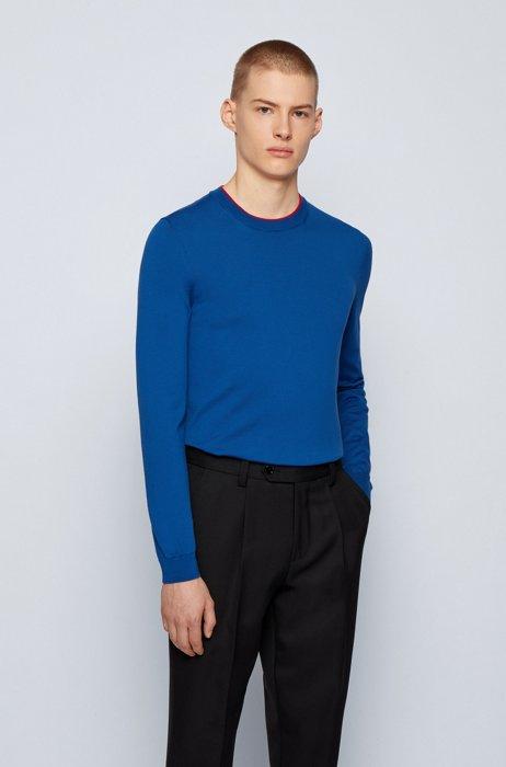 Slim-fit sweater in single-jersey cotton, Blue