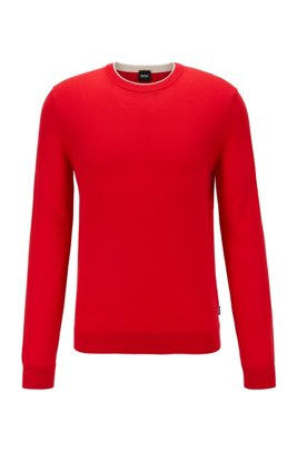 Slim-fit sweater in single-jersey cotton, Red