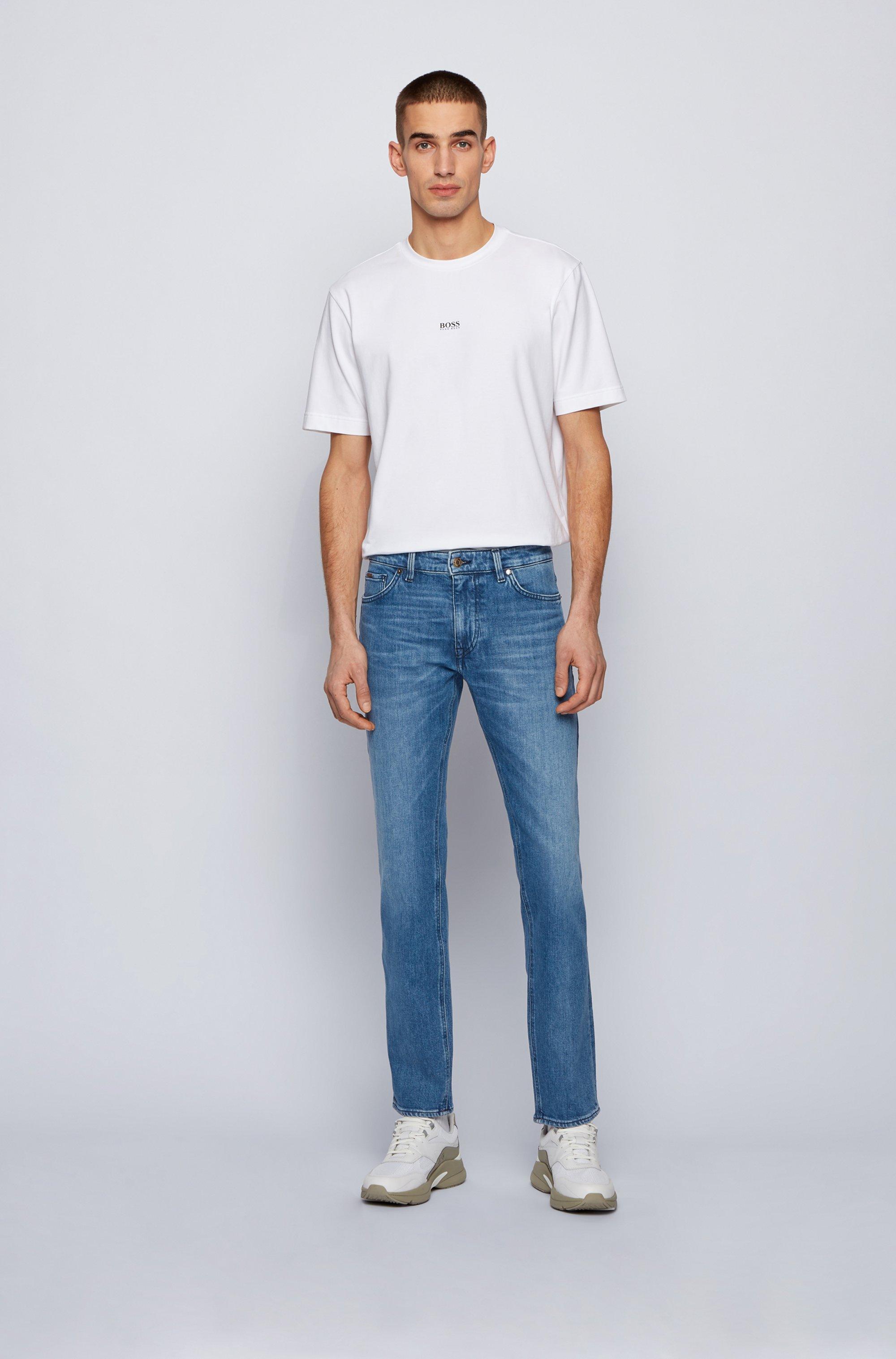 Regular-fit jeans van blauw Italiaans denim