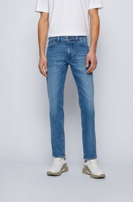 Regular-fit jeans in blue Italian denim, Blue