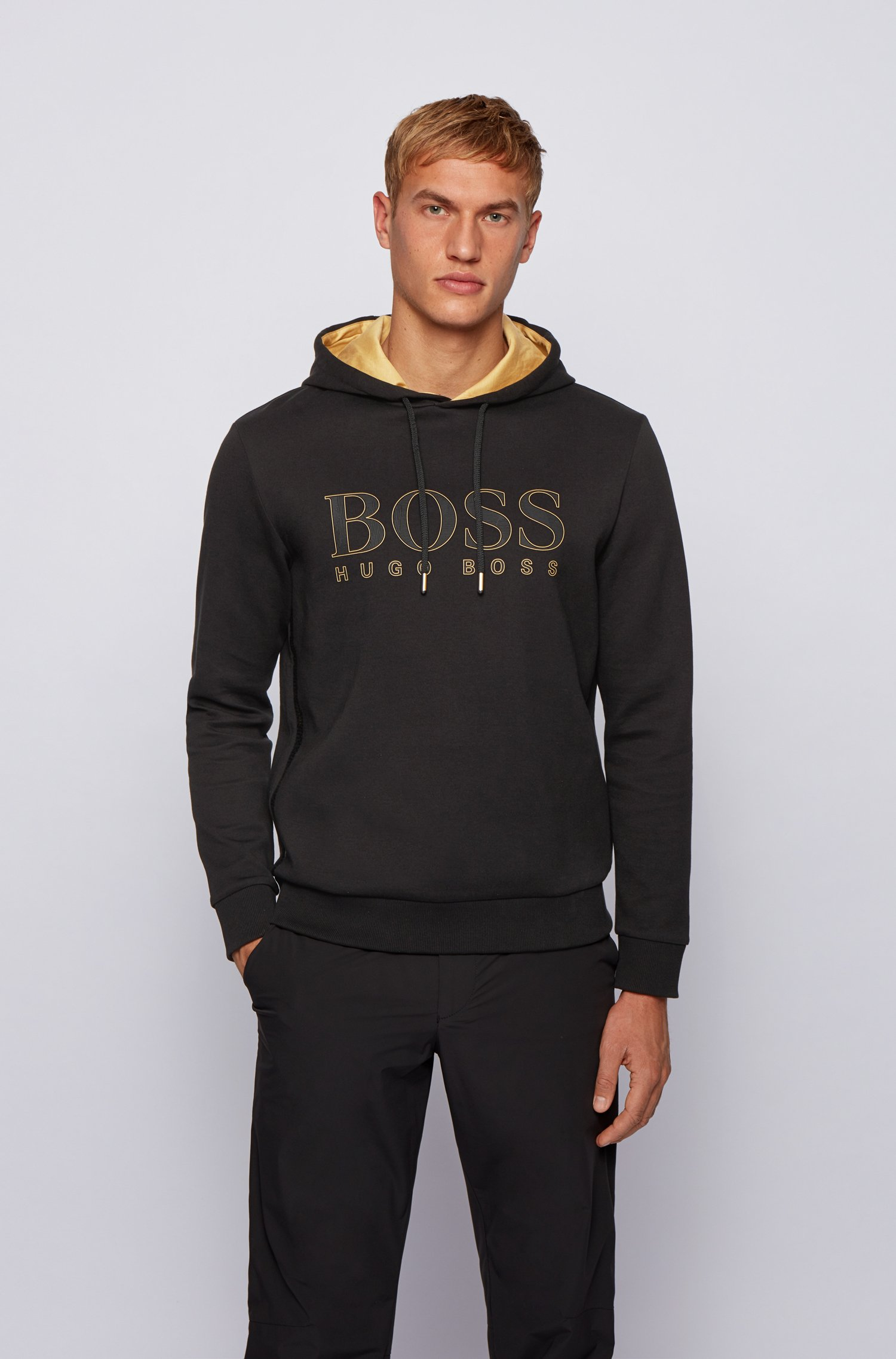 Sweatshirt with gold-tone hood lining and logo, Black
