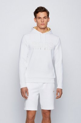 Sweatshirt with gold-tone hood lining and logo, White