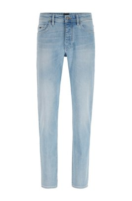 Tapered-fit jeans in bleach-washed comfort-stretch denim, Light Blue