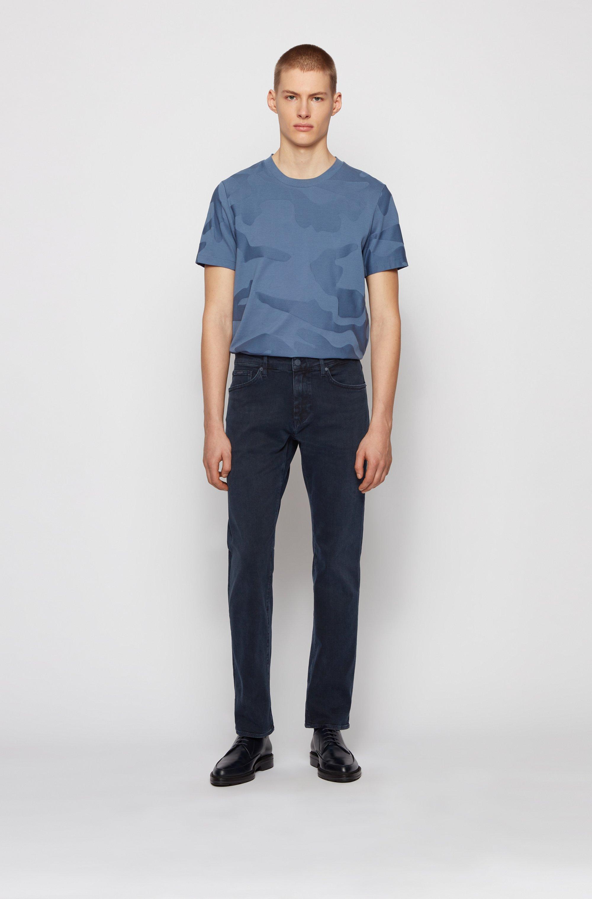 Jeans regular fit in denim blu grigio extra morbido