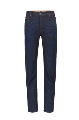 Jeans relaxed fit in denim elasticizzato italiano blu scuro, Blu scuro